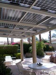 Use PV solar panels to shade a patio or a carport. This way they're easy to maintain, and you don't have them complicating you home's roof.