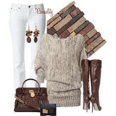 """""""Draped Shoulder Sweater & Woven Mk Bag"""" by casuality on Polyvore"""