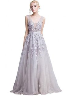 A-line Grey Tulle with Lace Appliqued V-neck Prom Dresses,Long Formal Gowns,apd2048