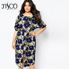 Brand 2016 European Retro Floral Print Wiggle Dress Plus Size Vintage  Autumn Evening Office Midi Dresses ca186f924b9e