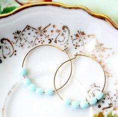 Powder Blue 14K GF Hoop Earrings by NestPrettyThingsShop on Etsy, $18.00