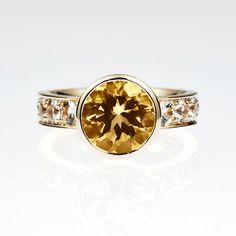 2.48ct Yellow sapphire engagement ring white by TorkkeliJewellery, $5060.00