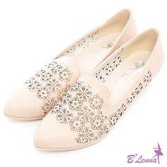 BLenna花漾繽紛雕花沖孔坡跟樂福鞋*活力粉膚