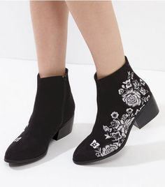 Black Embroidered Block Heel Ankle Boots   New Look