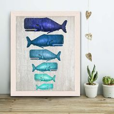 Whale Family Blue on Grey : whale poster whale print Nautical Print Art Illustration Nautical decor whale gift whale art Wall Art Wall Decor