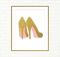 Gold Shoes Print Pink Gold Wall Art Vanity Wall by PeachAndGold, etsy.com