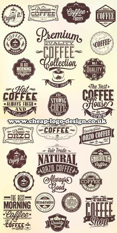 coffee shop logo graphic ideas www.cheap-logo-design.co.uk #coffee #coffeelogos #coffeegraphics