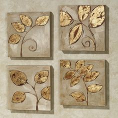 Golden Leaves Canvas Art Set