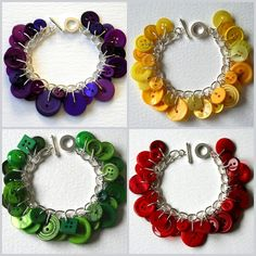colorful button charm bracelet.. LOVE THESE!! & soo simple!