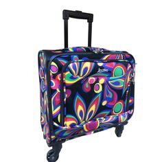 Fashionable and functional, this under-seat carry-on luggage is ready to go wherever you do, with spinner wheels for easy transportation. Designed with two pockets, this Jourdan 15-inch luggage is bursting with a Wild Flower butterfly pattern. $45 at overstock