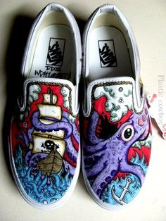 I custom painted Vans! Painted Vans, Hand Painted Shoes, Vans Slip On, Shoe Art, Custom Shoes, Vans Shoes, Me Too Shoes, Casual Shoes, Mens Fashion