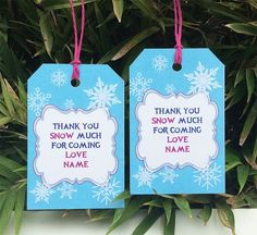 Frozen Birthday Party Favor Tags | Thank You Tags | Printable Template