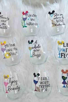 These Disney-Princess-Inspired Wine Glasses Are the Definition of Bibbidi-Bobbidi-Cute - - *Buys every single one*. Wine Glass Sayings, Wine Glass Crafts, Sayings For Wine Glasses, Wine Glass Decals, Decorated Wine Glasses, Painted Wine Glasses, Etched Wine Glasses, Silvester Diy, Disney Cups