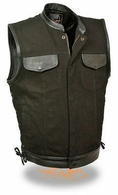 Milwaukee side lace mens black denim & leather trim motorcycle vest has snap & zip up, concealed carry gun pockets & collar for men bikers & motorcycle riders. Denim And Lace, Black Denim, Black Leather, Revival Clothing, Men's Clothing, Clothing Ideas, Motorcycle Vest, Motorcycle Clubs, Man Fashion