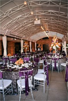 Purple Chair Covers ~ Purple Satin Napkin Holder ~ Decor: Darryl & Co. ~ Linens & Chairs: The Perfect Touch ~ Photo: Love, The Nelsons