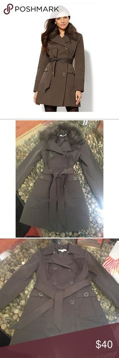 NEW YORK &CO - Belted Trench Coat Removable Fur Classic water resistant trench coat with removable fur collar. Worn once, too small for me. *color is a unique brownish/green New York & Company Jackets & Coats Trench Coats