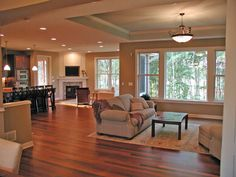 Open floor plan and plenty of windows in the living room of this Craftsman home.  House Plan # 481158.