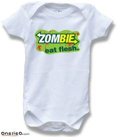 Zombie Eat Flesh Funny Saying Baby One Piece Bodysuit for Boys and Girls Cute Baby Shower Gift. $12.99, via Etsy.