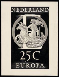 Ontwerp, postzegels Nederland 1956, Europa