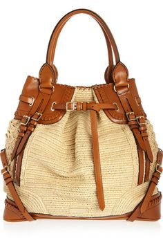 Burberry Woven raffia-effect and leather bag