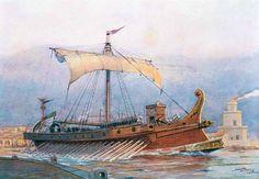 Nave romana di epoca imperiale che lascia l'arsenale