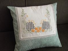 Vintage dresser scarf makes this pillow