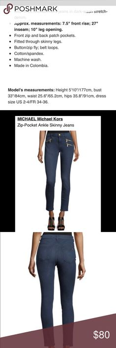 COMING SOON! MICHAEL Michael Kors jeans MICHAEL Michael Kors jeans in dark-wash stretch-denim. Machine washable. Cotton/Spandex MICHAEL Michael Kors Jeans Ankle & Cropped