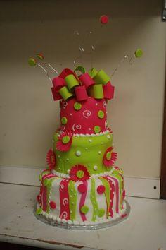 hot pink lime green wedding cake | birthday cake, pink and green, Cake Guru, Oshkosh, WI