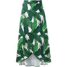 Leaf Tropical Print Wrap Skirt ($18) ❤ liked on Polyvore featuring skirts, leaf skirt, leaf print skirt, green wrap skirt, green skirt and tropical print skirt