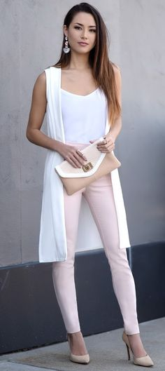 Jessica Ricks-white top, pastel pink pants, white long vest, nude heels and clutch! So pretty for spring Cute Summer Outfits, Girly Outfits, Sexy Outfits, Chic Outfits, Fashion Outfits, Womens Fashion, Fashion Trends, Fashion Vest, Jessica Ricks