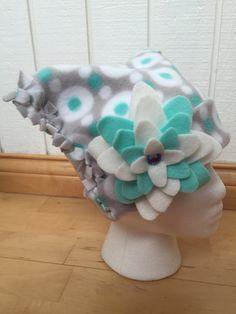 Girl's Fleece Winter Hat, Polka Dot Fleece Hat, Children's Fleece Hat, Fleece Hat with Flower, Preschooler Hat by KozyKiddies on Etsy