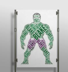 Have a little boy who is #hulk obsessed?! This is perfect!! #wallart #decor #interior #kidsroom #kidsdecor #creative #wordart #print #poster #handmade