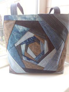 Denim Tote Bags, Denim Handbags, Fabric Handbags, Fabric Bags, Patchwork Patterns, Patchwork Bags, Quilted Bag, Crochet Bag Tutorials, Log Cabin Quilt Pattern