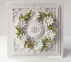 Galeria Papieru: komunijne Diy And Crafts, Paper Crafts, Card Crafts, First Communion Cards, Spinner Card, Exploding Boxes, Die Cut Cards, Cute Cards, Christening