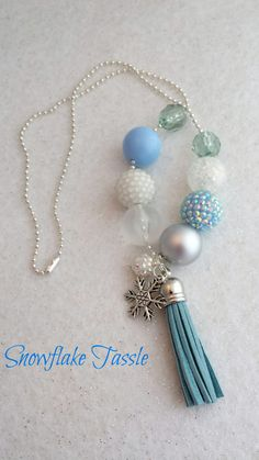 Light Blue Tassel Necklace with Snowflake by ForeverYoungByLeslie