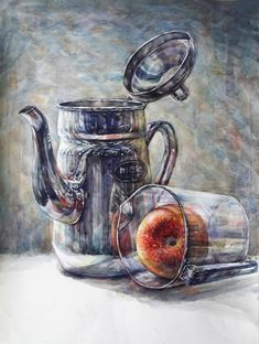 Watercolor Fruit, Watercolor Paintings, Pencil Drawings, Art Drawings, Drawing For Kids, Painting Techniques, Art Education, Colored Pencils, Still Life