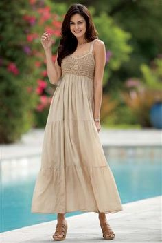 Cotton and Crochet Maxi Dressღ~*~*✿⊱╮