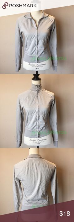 Lucky Brand Gray Zip Up Jacket Light jacket with edgy hem. Can wear it collared or zipped all the way up for a moto look. 100% cotton machine wash. No trades. Lucky Brand Jackets & Coats