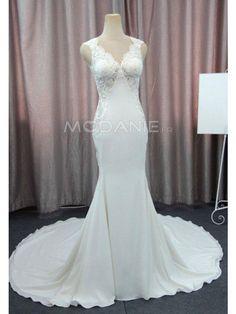 Dos nu robe de mariée sirène col en V en satin et dentelle pas cher [#M1605318853] - modanie