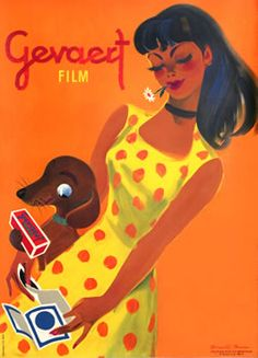 Brun, Donald poster: Gevaert Film (girl w/ dog)  int'l poster gallery, boston