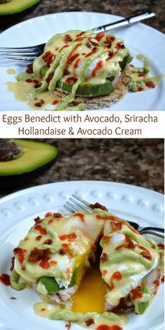 Souffle Bombay: Eggs Benedict with Avocado, Sriracha Hollandaise & Avocado Cream