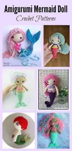 6 Crochet Amigurumi Mermaid Doll Patterns #Crochet #Doll