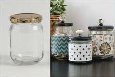 Симпатичные контейнеры из стеклянных банок.