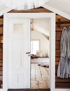 Search for our thousands of Interior Wood Doors available in a variety of designs, styles, and finishes. Attic Rooms, Attic Spaces, Wood Paneling, Panelling, Wood Flooring, Floors, Old Doors, Barn Doors, Cozy Cottage