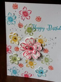 Stampin' Obsessed!: Petite Petals Birthday Petite Petals, Flower Shop, Remembering Your Birthday and Gorgeous Grunge stamp sets. Pansy punch and Petite Petals punch.