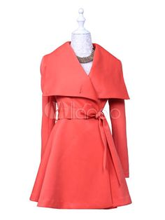 Pretty Notch Collar Long Sleeves Solid Color Synthetic Shaping Woman's Outerwear - Milanoo.com