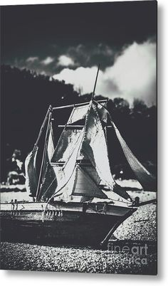 Sailboat Metal Print featuring the photograph Old Beached Sails by Jorgo Photography - Wall Art Gallery