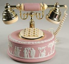 Jasperware is the term used to describe the type of pottery developed by Josiah Wedgewood. Authorities described it as a type of porcelain and it is noted for its matte finish and is produced in various colors. Pink Love, Pink And Gold, Pretty In Pink, Perfect Pink, Vintage Phones, Vintage Telephone, Radios, Wedgewood China, Antique Phone