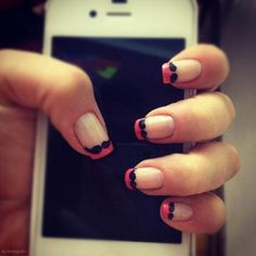 Mustache hot pink nails