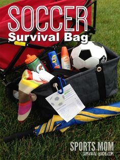 Do your kids play soccer? Learn how to never be stuck without the necessities! Pack this Soccer Survival Bag to leave in your car-check out the list of essentials including a free printable! Soccer Travel Tips Soccer Moms, Soccer Gear, Soccer Drills, Girls Soccer, Soccer Coaching, Play Soccer, Soccer Training, Soccer Players, Soccer Stuff